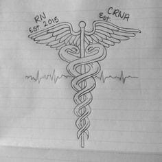Excellent idea for a RN Tattoo Caduceus Tattoo, Symbol Tattoos, Piercing Tattoo, Piercings, Future Tattoos, New Tattoos, Body Art Tattoos, Sleeve Tattoos, Tattoo Ideas