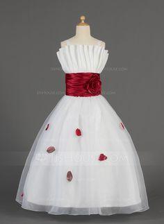 A-Linie/Princess-Linie Wellenkante Bodenlang Organza Charmeuse Blumenmädchenkleid mit Rüschen Schleifenbänder/Stoffgürtel Blumen Schleife(n) (010014631) - JJsHouse