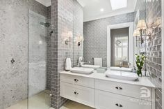 This Hamptons style ensuite is designed by Amity Dry and built by Scott Salisbury Homes.