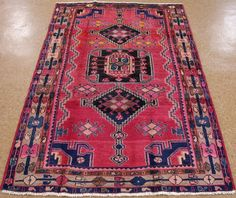 4 x 7 PERSIAN LURI NOMADIC TRIBAL Hand Knotted Wool RED BLUE Oriental Rug #PersianLuriTribalNomadicGeometric