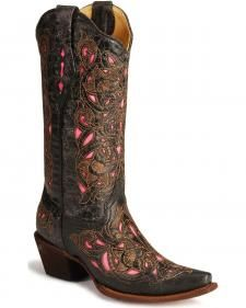 I don't look good in pink, but these Corral Laser Pink Inlay Cowboy Boots are too cute