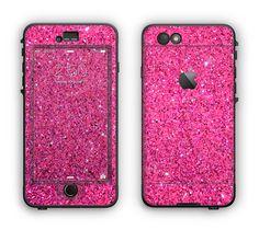 The Pink Sparkly Glitter Ultra Metallic Apple iPhone 6 LifeProof Nuud Case Skin Set
