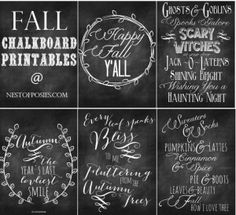 Fall and Halloween Chalkboard Quote Printables - from @Nest of Posies