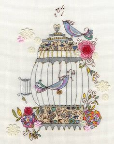 Singing beautiful songs atop a beautifully patterned cage, this cross stitch kit is a harmonious mix of colourful art and mindfulness to embroidery....