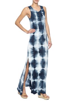 Long blue tie dye maxi dress with high side slits and criss cross tied up front.  Tie Dye Maxi by Peach Love California. Clothing - Dresses - Maxi Clothing - Dresses - Casual Clothing - Dresses - Printed North Carolina