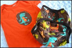 Cloth diaper cover and matching embellished tee - dancin dinos. $27.00, via Etsy.