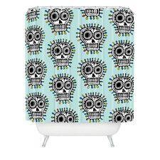 Andi Bird Woven Polyester Sugar Skull Fun Shower Curtain