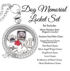 9fa8b858198 Pet Memorial Jewelry • Floating Locket • In Memory of My Dog • Picture Charm  • Personalized w/ Your