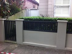 Gate Design Ideas - Photos of Gates. Browse Photos from Australian Designers & Trade Professionals, Create an Inspiration Board to save your favourite images. Brick Fence, Concrete Fence, Front Yard Fence, Front Gates, Fence Gate, Fences, Diy Fence, Fence Ideas, Gate Ideas