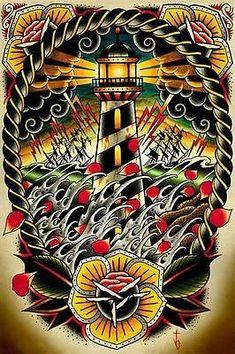 Details about Last Port by Tyler Bredeweg Tattoo Art Print Traditional Artwork Lighthouse Wave - Tattoo shit - Tattoo Traditional Lighthouse Tattoo, Traditional Tattoo Flash, Traditional Artwork, Stretched Canvas Prints, Canvas Art Prints, Framed Art Prints, Fine Art Prints, Framed Wall, Framed Artwork