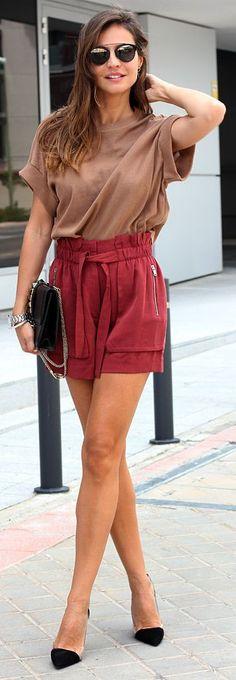 I love Zara and I love the shorts!  Zara Burgundy High Waist Tie Wide Pockets Shorts by LadyAddict