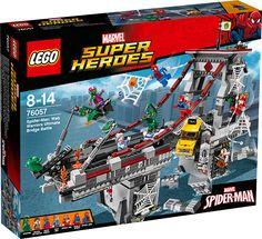 LEGO SUPER HEROES 76057 Edderkoppekrigernes ultimative kamp på broen Broen bliver angrebet! Lad Spider-Man, Spider-Girl og Scarlet Spider gå sammen om at besejre GreenGoblin. Men pas på Kraven the Hunter, som kravler ud af sit hemmelige tilholdssted, og hold øje med Scorpions giftige hale. Red taxaen med et spind, før den falder af vejbanen, og beskyt tanteMay mod GreenGoblins flammende græskarbombe â og sæt derefter alle skurkene i spindelvævsfængsel!