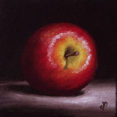 Little Red Apple, J Palmer Original oil still life mini Art