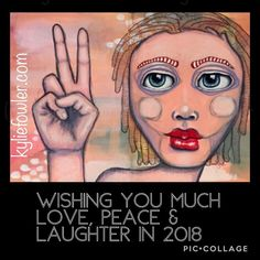 Happy New Year. 'Peace'. Drawn with non-dominant hand painted with dominant hand. . . . #happynewyear #kyliefowler #artjournaling #mixedmedia #artist #portrait #perfectlyimperfect #nondominanthand #sketch  #painting #bigeyes #luluartsupplies