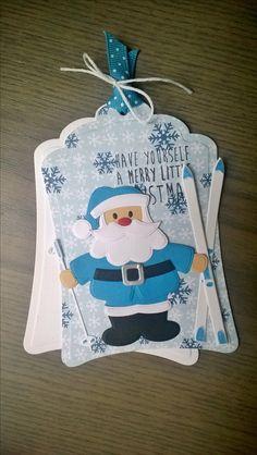 Santa & skis Chrismas Cards, Christmas Gift Tags, Handmade Christmas, Xmas Cards To Make, Ski Card, Father Xmas, Marianne Design Cards, Punch Art Cards, Elizabeth Craft Designs