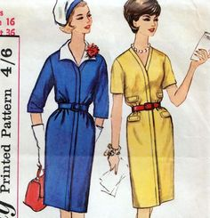 "Vintage 60s SLIM DRESS Sewing Pattern UNCUT Bust 36"" Size 12 RETRO Rockabilly"