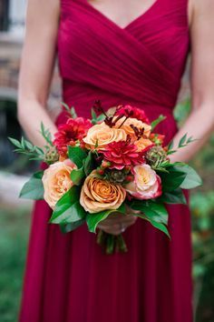Orange Roses and Burgundy Dahlia Fall Bouquet // cranberry bridesmaids dress, greenery, autumn, bridal, wedding
