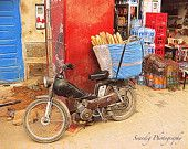 French Bread Basket on Bike in Morocco Photo. Motorcyle. Blue Red. Coca Cola. Door. Rustic. 8x10. Travel Photography.