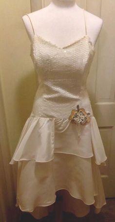 DESIGNER NADINE,, White Sequin Top Taffeta Tiered Bottom, Ballroom Dance Gown 12  | eBay