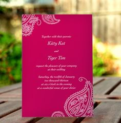 Wedding invitation or announcement, indian, paisley - pink/red