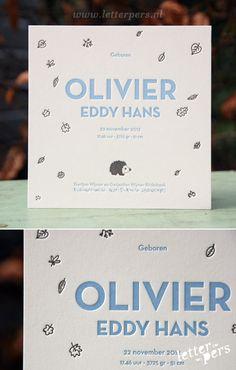letterpers_letterpress_geboortekaartje_Olivier_egel_bladeren