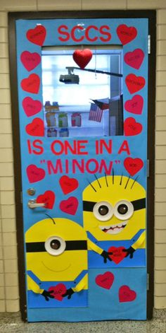 One in a Minion Classroom Door - Featured in 27 Valentine's Day Classroom Door Decorating Ideas {OneCreativeMommy.com}