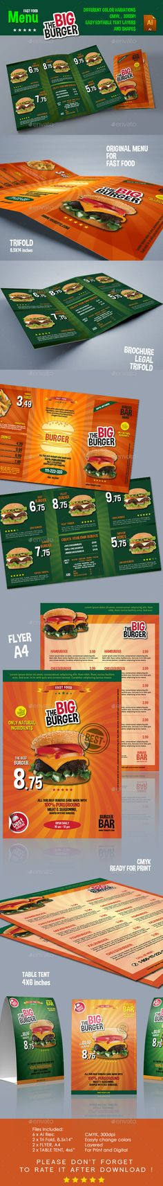 the big burger menu food menus print templates