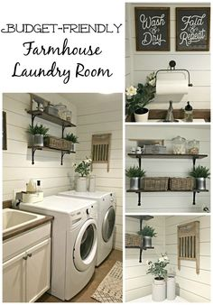 Below are the Farmhouse Laundry Room Storage Decoration Ideas. This post about Farmhouse Laundry Room Storage Decoration Ideas was posted … Rustic Laundry Rooms, Laundry Room Wall Decor, Laundry Room Remodel, Laundry Room Organization, Laundry Room Design, Laundry In Bathroom, Rustic Kitchen, Bathroom Mirrors, Basement Laundry Rooms