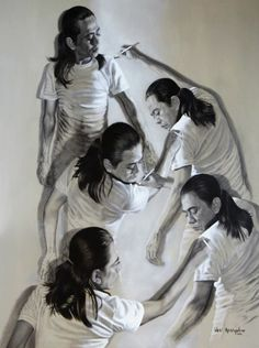 Mind-Bending Portraits Show Cloned Versions Of The Artist Drawing One Another - DesignTAXI.com