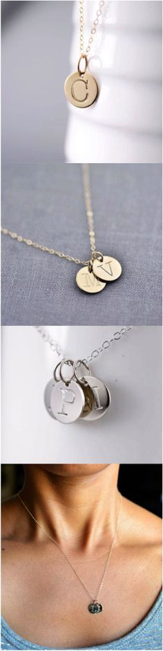 Beautiful hand-stamped initial necklace in solid gold, personalized with your initial. Cute Jewelry, Diy Jewelry, Jewelry Box, Jewelry Accessories, Luxury Jewelry, Stylish Jewelry, Jewlery, Initial Jewelry, Initial Charm