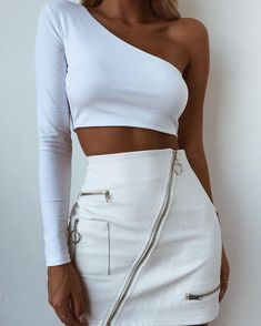 51 Cute Summer Outfits Ideas for Exciting ~ officee White Outfits, Classy Outfits, Casual Outfits, Casual Skirts, White Fashion, Teen Fashion, Fashion Outfits, Woman Outfits, Fashion Skirts