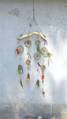 boho dream catcher bohemian décor feather mobile by handmadebyfofo
