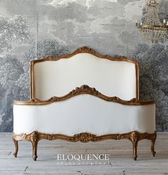 "Eloquence Vintage French Louis XV Hand Carved Full Bed   From Eloquence, a stunning vintage full size bed finished in a subtle warm gilt and upholstered in a crisp white duct canvas.  The Louis XV style cabriole legs and sinuous curves make this an excellent way to capture the spirit of France. The inner mattress dimensions are 59"" wide by 83"" deep. The outer dimensions are 53"" Tall, 63"" wide and 83"" deep.  Gorgeous bed!  http://www.parishotelboutique.com/store/Eloquence-Vintage-French-"