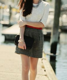 From classygirlswearpearls blog  Tweed with red accent