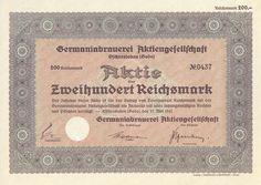 Germaniabrauerei Aktie 200 RM 1941