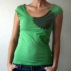 Upcycle old t-shirt: cut to make scoop neck and cap sleeves
