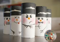 Snowman Bowling  We love this particular project because it is almost as much fun to make as it is to play with. We also find this to be a wonderful game for inclusion and learning the process of taking turns.