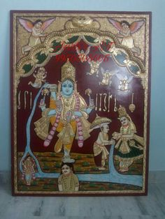 Tanjore Painting (Vamana Avatar of Lord Vishnu) Size feet without frame This is a famous Vamana Avatar Tanjore Painting of L. Mysore Painting, Tanjore Painting, Temple India, Lord Vishnu, Painted Chairs, Buddhist Art, Traditional Art, Art Drawings, Paintings