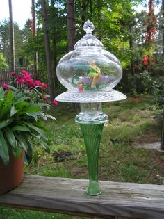 Glass Totems Yard Arts | Rod Included Glass Yard Art Totem Tinkerbell Fairy Garden | the Tinker …