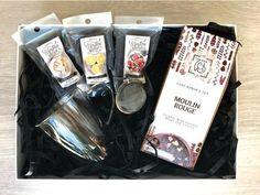 Tranquility Gift Box available from www.lilou.co.za   Lilou Online Gift Shopping   Moulin Rouge loose-leaf tea, three chocolate coated confections, double-walled glass mug and tea strainer.