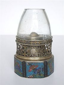 A lovely paktong and email cloisonné opium lamp. Age: 19th century H. 11,5 cm