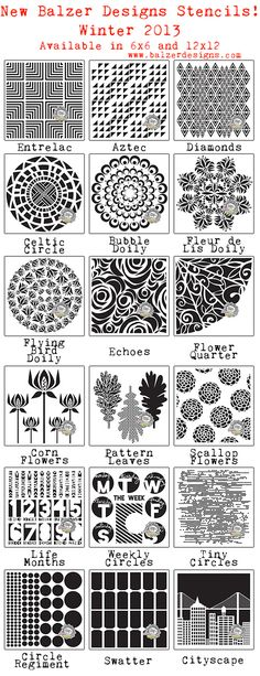 Balzer Design Stencils used on scrapbook pages.  I really like these, can't wait to try a few...