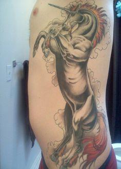 Side Body Tattoos for Men | Unicorn Tattoo Left Side Body Men