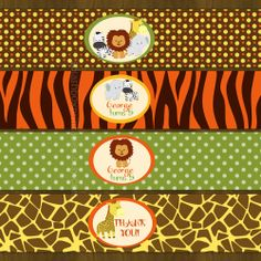 Safari Zoo Jungle Water Bottle Labels Wild by SplashboxPrintables, $5.00