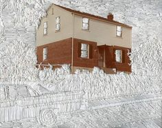 House on a Hill. 2011. Jessica Wohl. embroidery on found photograph, 8 x 10 inches.