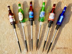 Set of 6 Yard Stakes for Beer Bottle Tiki Torches Beer Bottles Stakes Wicks | eBay