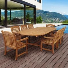 Havenside Home Tottenville Teak Double Extendable Oval Dining Set (Natural Wood), Brown, Outdoor Patio Furniture Outdoor Dining, Outdoor Tables, Outdoor Spaces, Indoor Outdoor, Patio Dining, Outdoor Decor, Teak Table, Patio Table, Dining Set For Sale