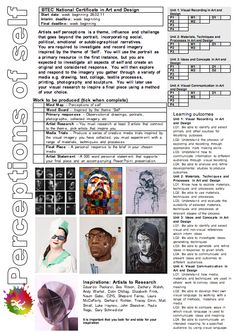 PERCEPTIONS OF SELF  BTEC, Project Brief, Level 3, departmentart, departmentart.co.uk, school art, art, art brief, art project