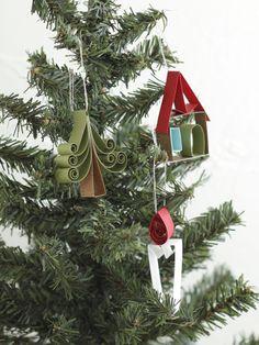 お子さんと一緒に作って飾れるペーパーオーナメントです。/手軽に作れる、クリスマス雑貨(「はんど&はあと」2012年12月号)