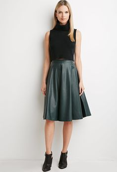Contemporary Faux Leather A-Line Skirt - Skirts - Midi & Maxi - 2000155654 - Forever 21 EU English